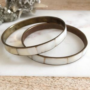 Vintage pair mother of pearl + brass bangles